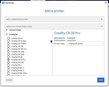 CR 20 Pro   Cura Selection List