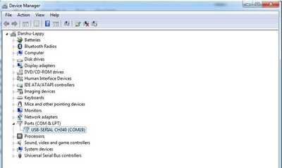Device Manager Serial Port OK